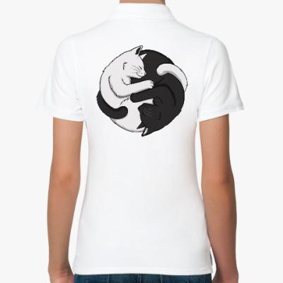 Женская рубашка поло Черный и белый кот инь-ян