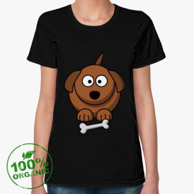 Женская футболка из органик-хлопка Собачка с косточкой