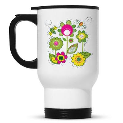 Кружка-термос Солнечные цветы и пчелы