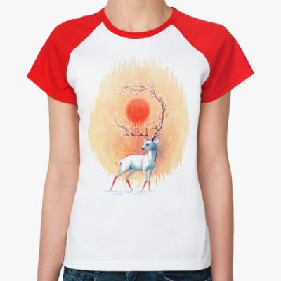 Женская футболка реглан Дух весны белый олень