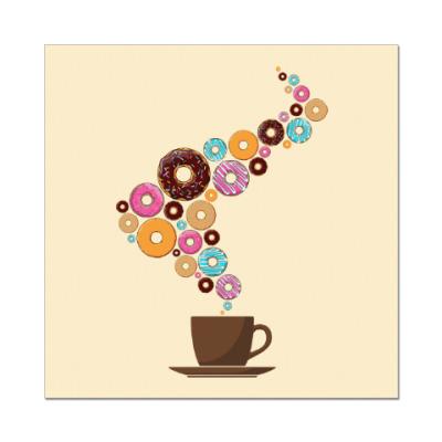 Наклейка (стикер) Кофе с пончиками