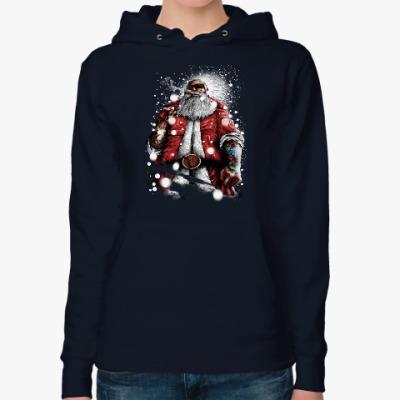 Женская толстовка худи Четкий Санта Клаус с подарком