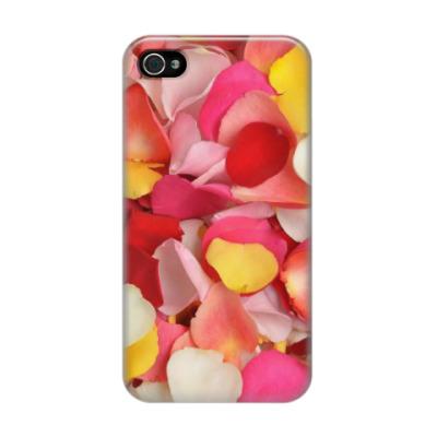 Чехол для iPhone 4/4s лепестки роз