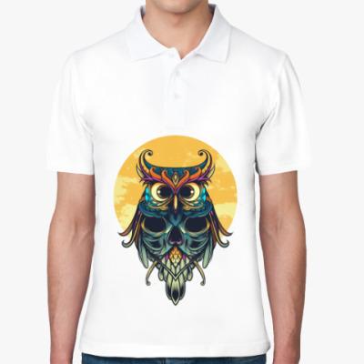 Рубашка поло Сова на фоне Луны