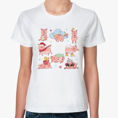 Классическая футболка 2019 год Свиньи