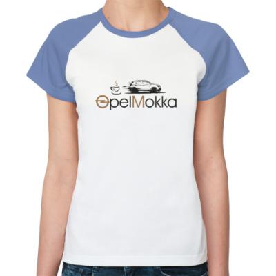 Женская футболка реглан Реглан Женская (бел/голуб)