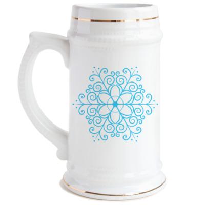 Пивная кружка Новогодняя снежинка
