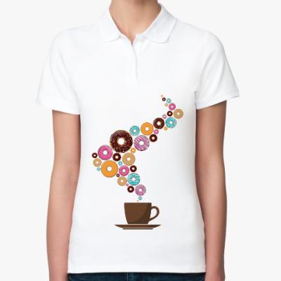 Женская рубашка поло Кофе с пончиками