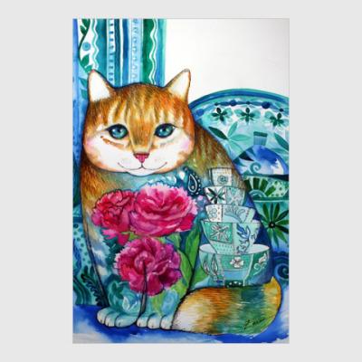 Постер пионовский кот
