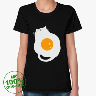 Женская футболка из органик-хлопка Кот-яичница