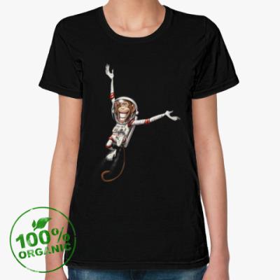 Женская футболка из органик-хлопка Обезьянка Космонавт