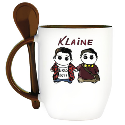 Кружка с ложкой Klaine ( Glee Cast )