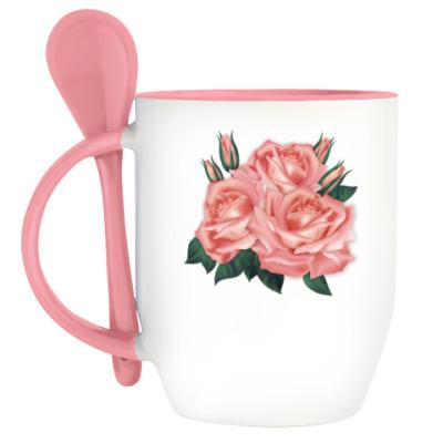 Кружка с ложкой Розы