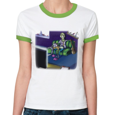 Женская футболка Ringer-T Life zombie!
