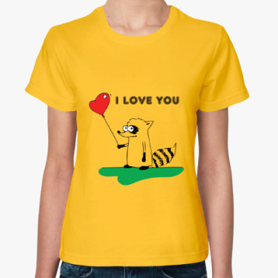 Женская футболка 'I LOVE YOU' с Енотом