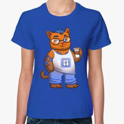 Женская футболка Кот хипстер