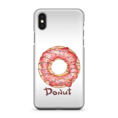 Чехол для iPhone X сладкая иллюстрация с пончиком