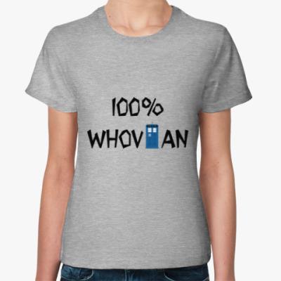 Женская футболка 100% Whovian ТАРДИС Доктор Кто
