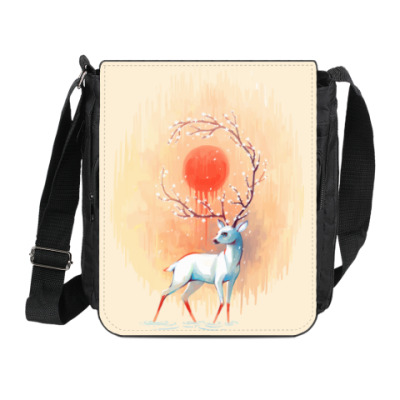 Сумка на плечо (мини-планшет) Дух весны белый олень