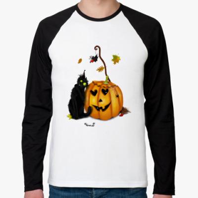 Футболка реглан с длинным рукавом Happy Halloween