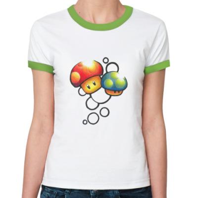 Женская футболка Ringer-T Mario Mushrooms