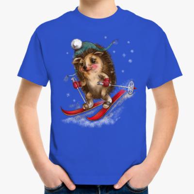 Детская футболка Ёжик лыжник