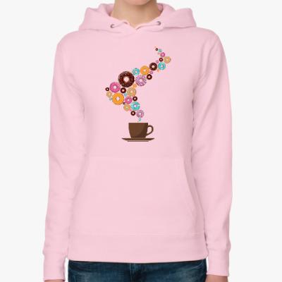 Женская толстовка худи Кофе с пончиками