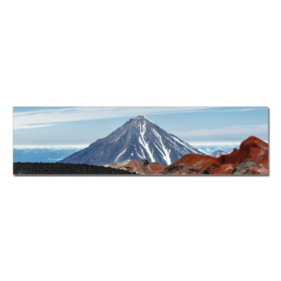 Наклейка (стикер) Вулканы, летний пейзаж полуострова Камчатка
