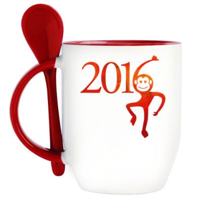 Кружка с ложкой Год Огненной Обезьяны 2016