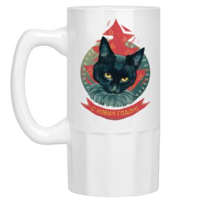 Пивная кружка Новогодний черный кот