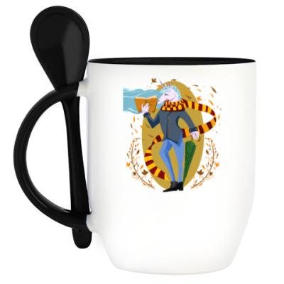 Кружка с ложкой Питерский единорог