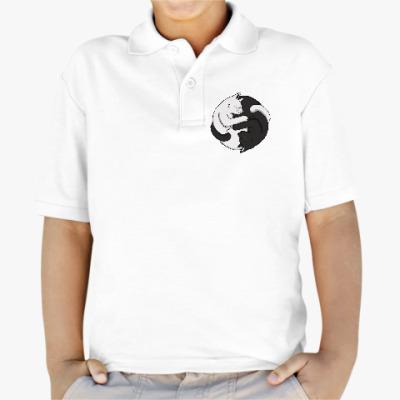 Детская рубашка поло Черный и белый кот инь-ян