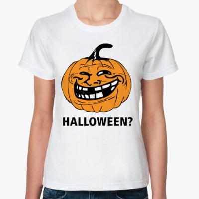 Классическая футболка  Trollface. Halloween?