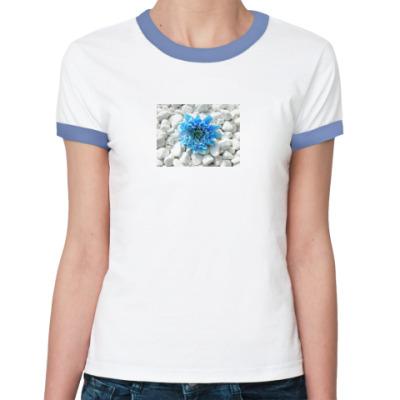 Женская футболка Ringer-T Голубой цветок