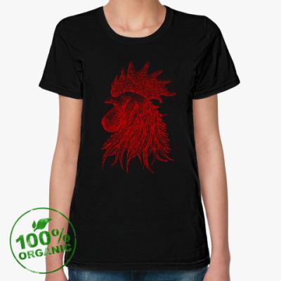 Женская футболка из органик-хлопка Красный петух символ Года
