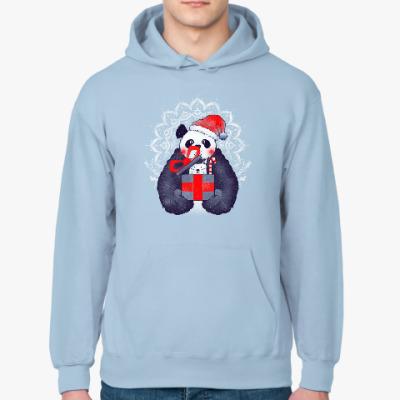 Толстовка худи Новогодняя панда и кот