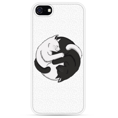 Чехол для iPhone Черный и белый кот инь-ян