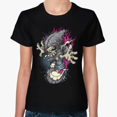 Женская футболка Смерть на скейте