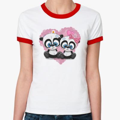 Женская футболка Ringer-T Маленькие панды