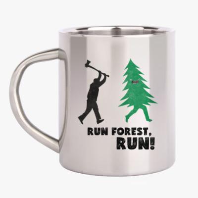 Кружка металлическая Run forest run! New Year