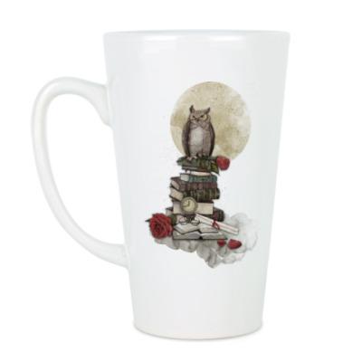 Чашка Латте Мудрая сова и книги