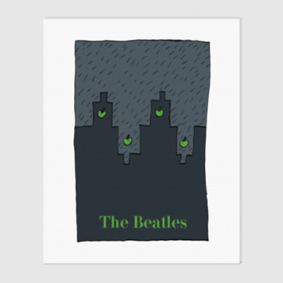 Холст The Beatles - Rain in Liverpool