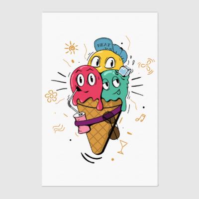Холст Смешные шарики мороженного