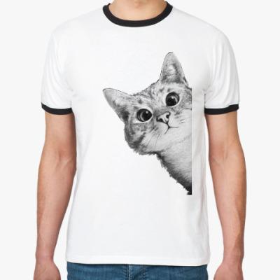 Футболка Ringer-T Любопытный котик