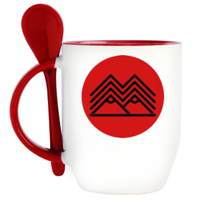 Кружка с ложкой Символ Твин Пикс Twin Peaks