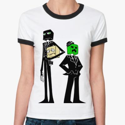Женская футболка Ringer-T Enderman & Creeper . Minecraft