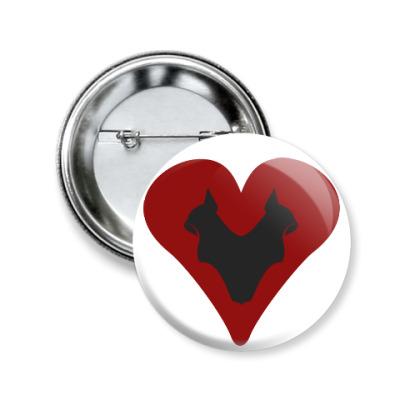 Значок 50мм Кошачье сердце