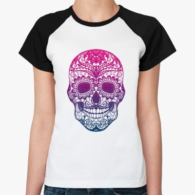 Женская футболка реглан сахарный череп
