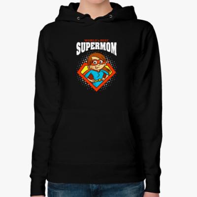 Женская толстовка худи SUPERMOM world's best