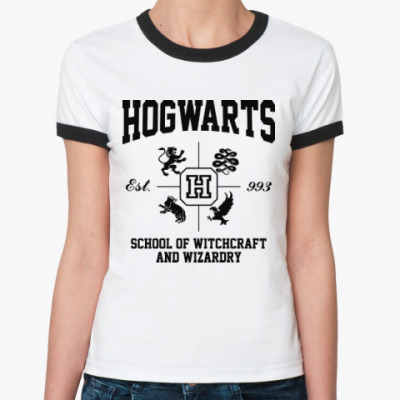 Женская футболка Ringer-T Hogwarts